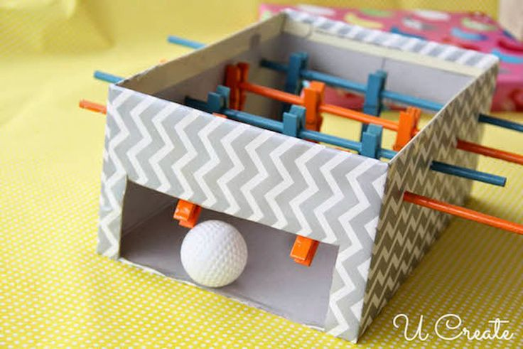 Mini foosball from a shoe box