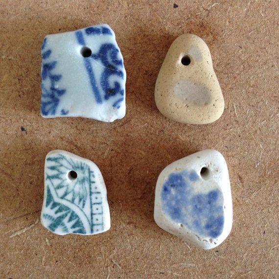 Sea pottery pendants by Butterflyjessie on Etsy, £6.65