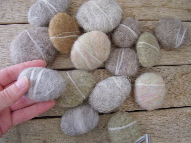 Felted wool pebbles for waldorf children or natural home for Felted wool boulders