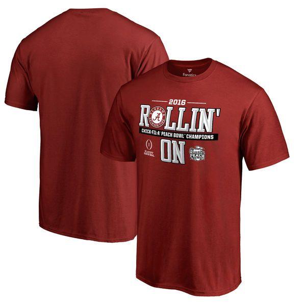 Alabama Crimson Tide Fanatics Branded 2016 College Football Playoff Peach Bowl Champions Rollin' On T-Shirt - Crimson - $24.99