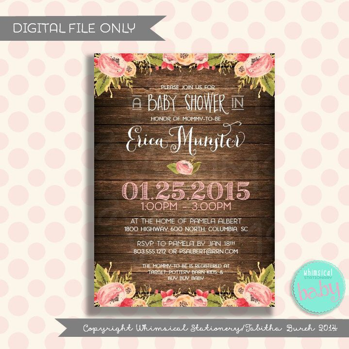 bridal shower invitations with recipe card attached%0A Baby Shower Invitation   Rest On Your Florals  Dark Wood   Collection   Printable File