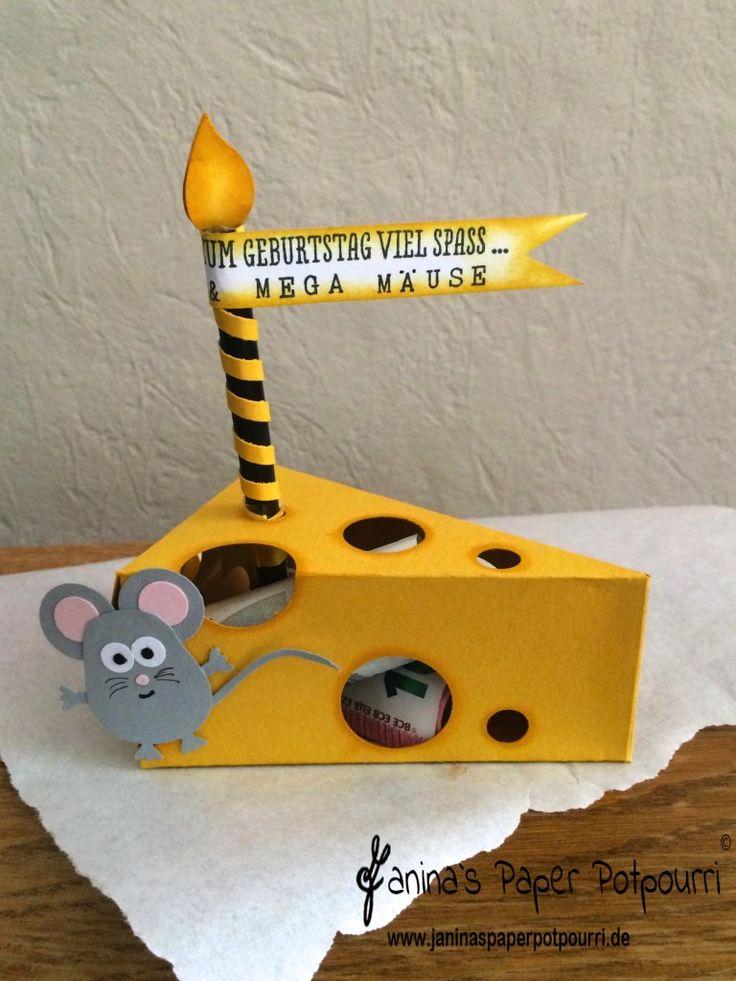 jpp - alles Käse & Mega Mäuse / Käse-Stück für Geldgeschenke / piece of cheese / money gift / Stampin' Up! Berlin / Thinlits Tortenstück / cutie pie thinlits / Elementstanze Eule / Geschenk deiner Wahl