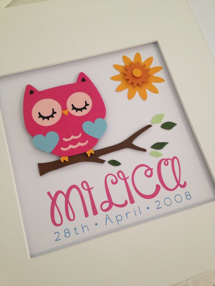 Pink owl birth details frame  www.facebook.com/littleowlcreations12