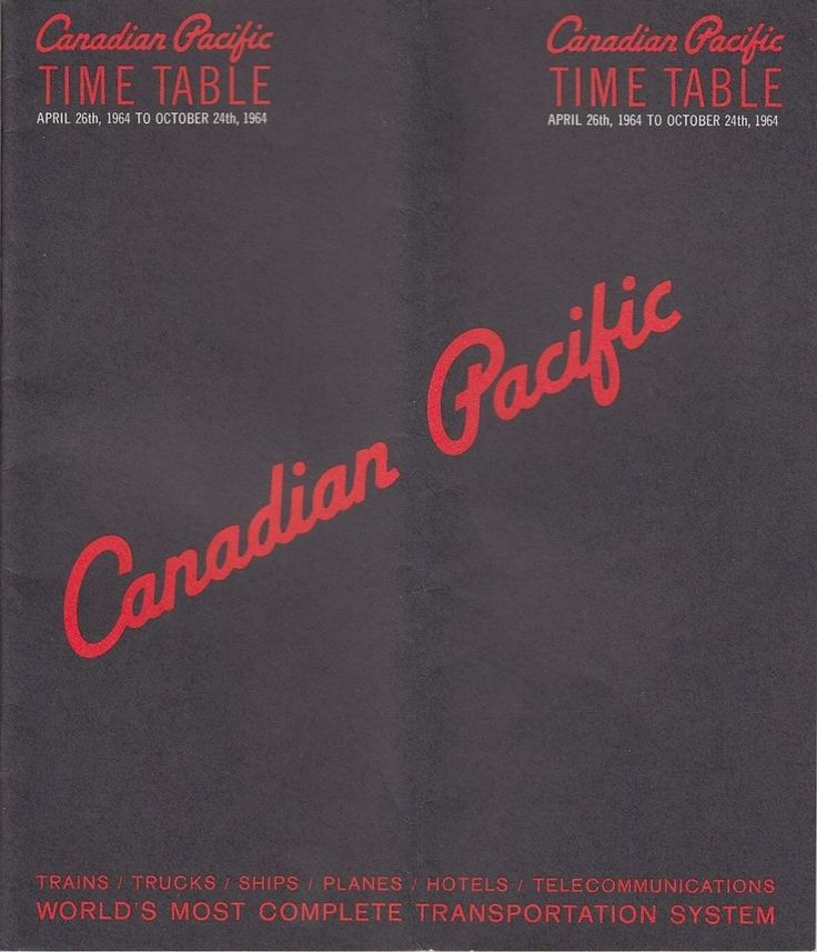 1964 Canadian Pacific Railway Passenger Time Table Train Schedules System Map