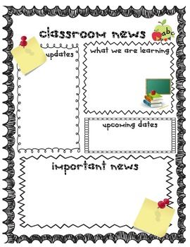 back to school weekly newsletter and homework templates for teachers teaching ideas pinterest weekly newsletter homework and template
