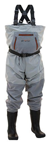 Frogg Toggs Hellbender Boots Foot Felt Chest Wader, Size 11, Slate Gray  https://fishingrodsreelsandgear.com/product/frogg-toggs-hellbender-boots-foot-felt-chest-wader-size-11-slate-gray/  4-ply nylon upper Adjustable wading belt with locking buckle Adjustable X-back suspenders with quick-release locking buckles