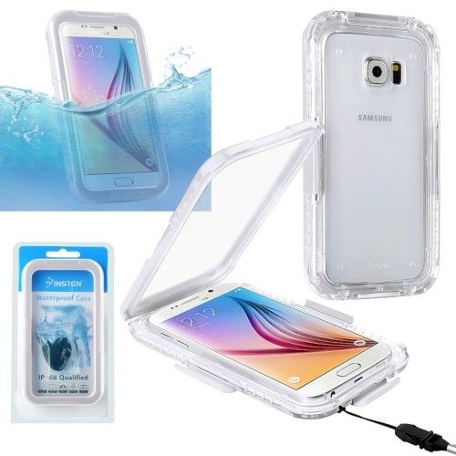 Insten - Waterproof Hard Snap-in Case Cover for Samsung Galaxy S6 SM-G920 / S6 Edge SM-G925 - Clear / White - Front Zoom