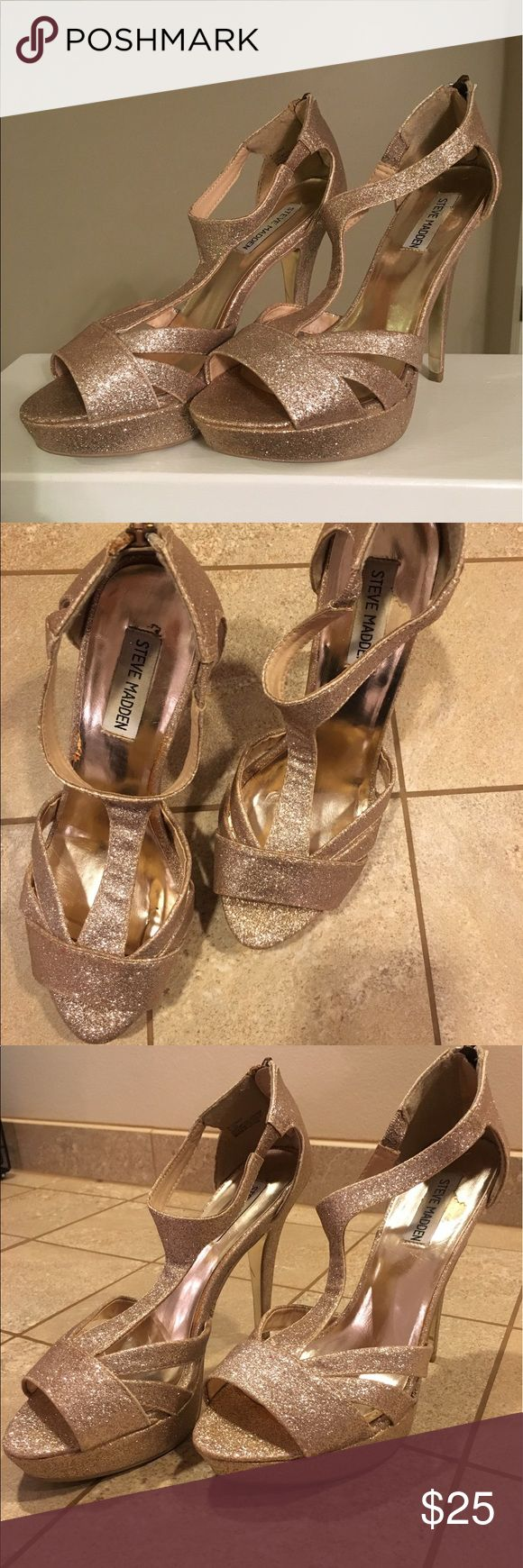 Steve Madden Gold Glitter Heels -- Size 9 Gold glitter heels with zipper in back. Worn only twice. Please ask any questions you may have! Steve Madden Shoes Heels