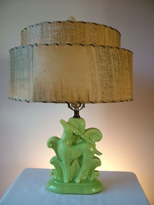 Vintage Green Ceramic Gazelle Deer Retro Table Lamp Light Rice Paper Shade
