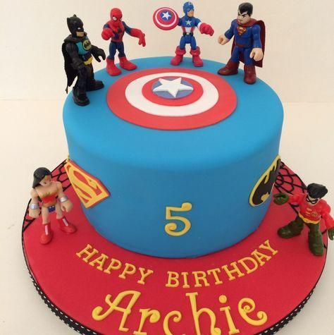 Harry's first choice One tier Marvel Superhero cake