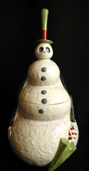 Nightmare Before Christmas Jack Skellington Snowman Cookie Jar $125.00 each  By Disney Ceramic, 12""
