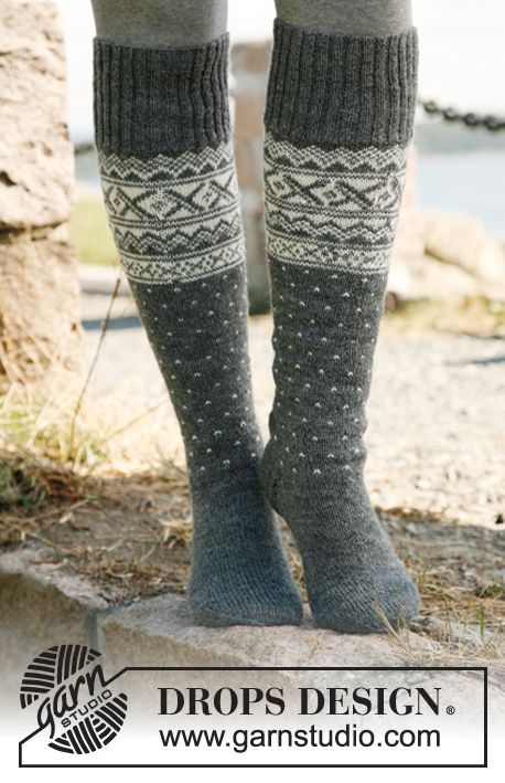 "Knitted DROPS socks with Norwegian pattern in ""Fabel"". Size 35-46 ~ DROPS Design"