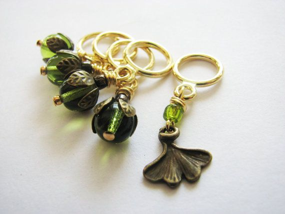 The Enchanted Ginkgo  NonSnag Stitch Markers by winemakerssister, $8.50