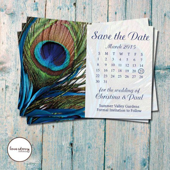 Peacock Calendar Postcard Save the Date / Wedding Invitation / DIY Printable / Printed Invitations with free envelopes #vintagewedding #birthdayinvitations