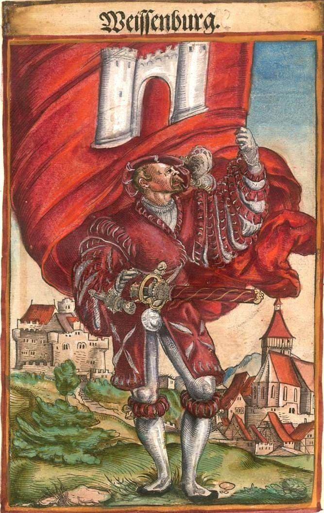 """Weißenburg in Bayern [Weissenburg] (f°115) -- Koebel, Jacob, """"Wapen des heyligen römischen Reichs teutscher Nation"""", Franckfurth am Main, 1545 [BSB Ms. Rar. 2155]"""