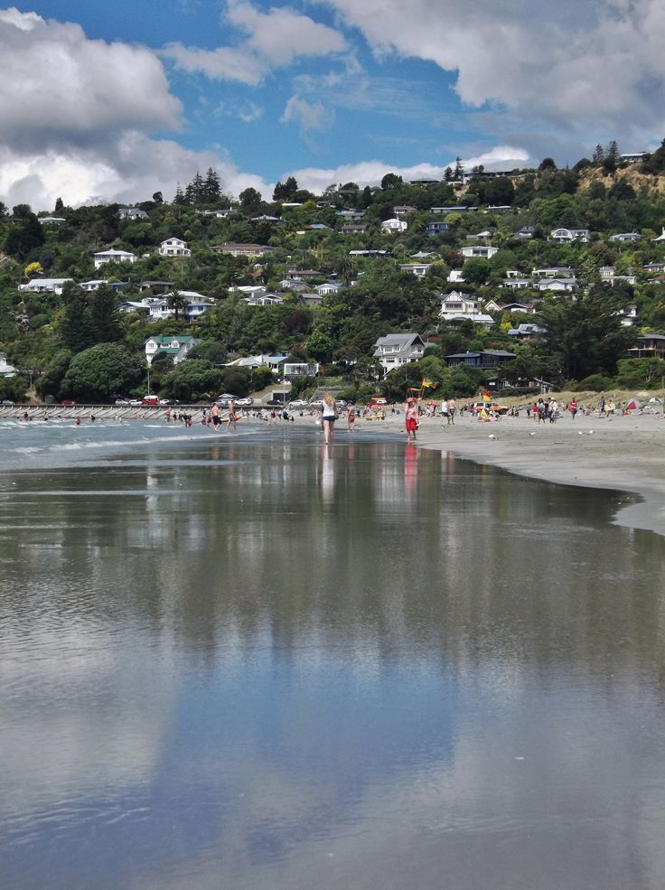 Reflections along Tahunanui Beach, Nelson, New Zealand - by Jon Reid