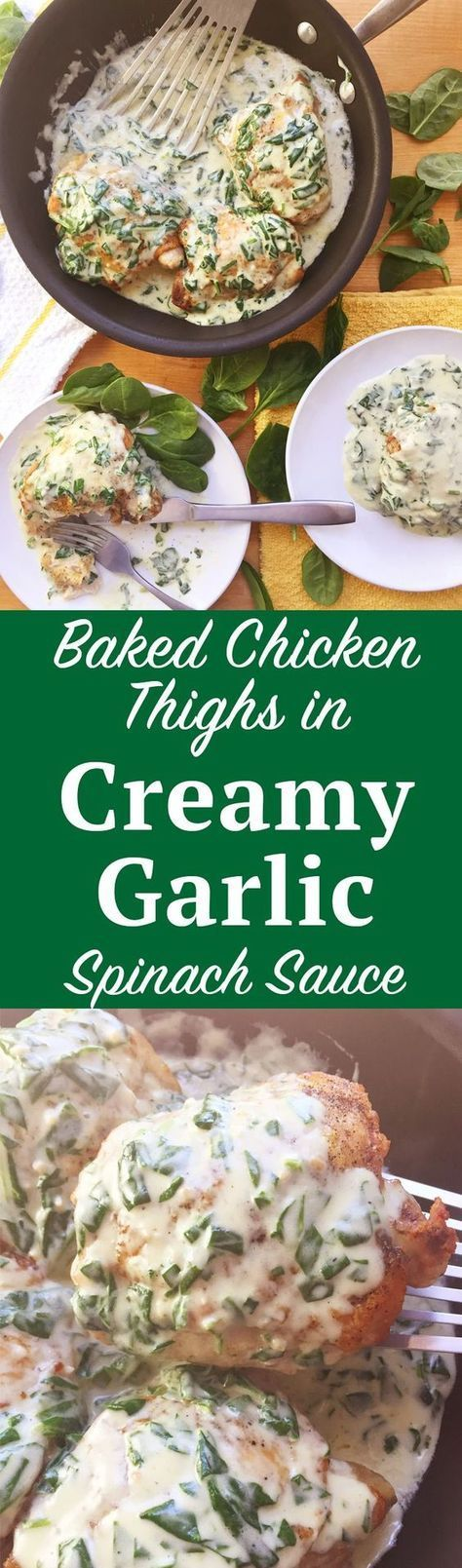 Baked Chicken Thighs with Creamy Garlic Spinach Sauce. A gourmet dinner in under 30 minutes? It's possible with this Baked Chicken Thigh recipe with Creamy Garlic Spinach Sauce. Click through for the instructions!   http://SeasonlyCreations.com   @Seasonlyblog