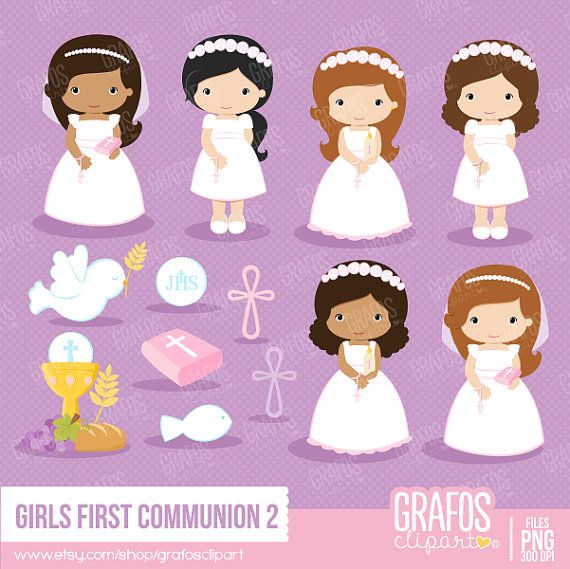 GIRLS FIRST COMMUNION 2 - Digital Clipart Set, Imagenes Primera Comunión, Comunion Clipart, Mi Primera Comunion.