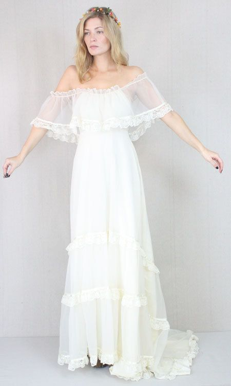 Vtg 60s/70s Cream Sheer Boho Hippie Wedding Prairie Lace Draped Maxi Bridal Dress. $725.00, via Etsy.
