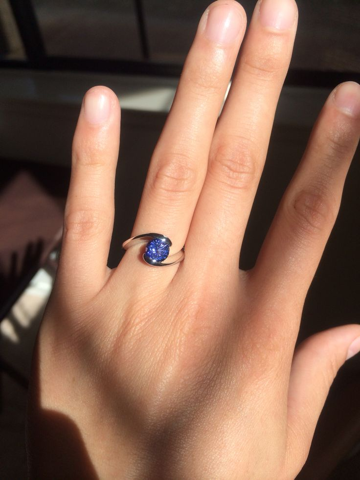 Blue purple tanzanite engagement ring December birthstone ...