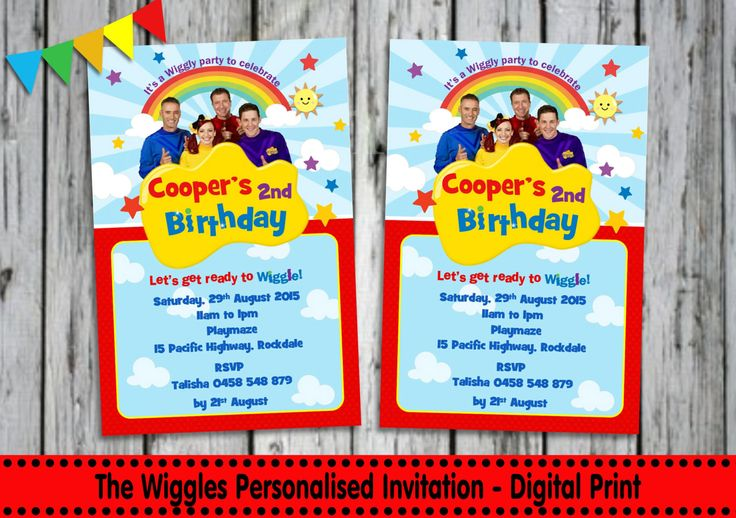 The WIGGLES INVITATION - Personalised - Printable - Invites - Digital Print - DIY - Birthday Party Invitation - Digital Download File - Kids by LollipopPartyDesigns on Etsy https://www.etsy.com/listing/242731492/the-wiggles-invitation-personalised