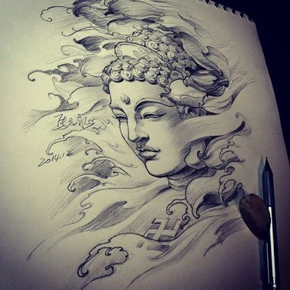 Chronic Ink Tattoo - Toronto Tattoo Buddha sketch done by Master Ma.