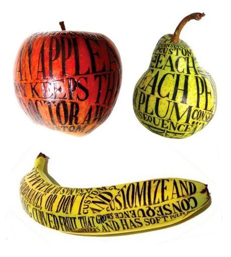 "Illustrated Fruit - Sarah King art is ""huh who woulda thought of that?"""