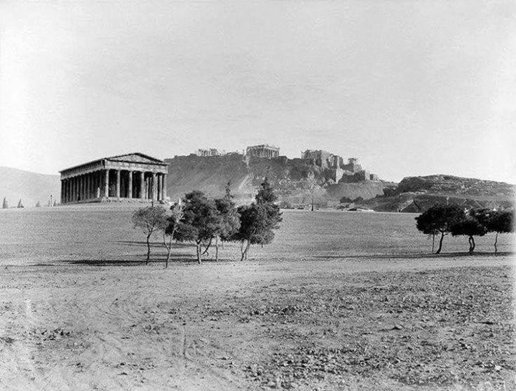 Αθήνα 1889. Άποψη του Θησείου. Στο βάθος η Ακρόπoλη.