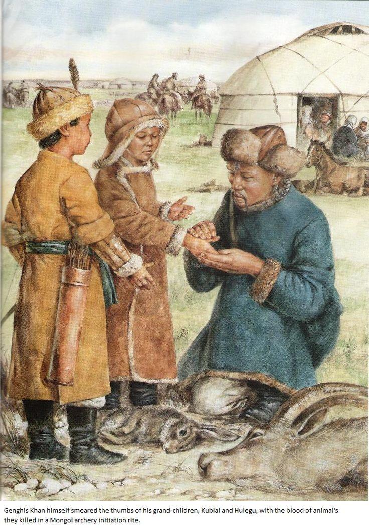 Cengiz Han torunları Kubilay ve Hülagü'nün başparmaklarına avladıkları hayvanların kanını sürerken.