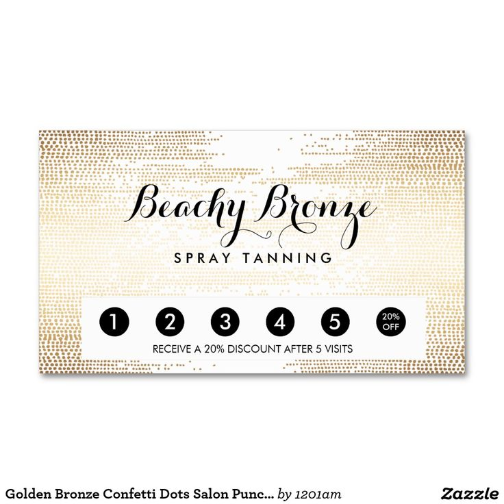 Golden Bronze Confetti Dots Salon Punch Card Business Cards for Spray Tanning Salons, Mobile Spray Tanning, Beauty Salons and more. Great promotion piece to drive customer loyalty!