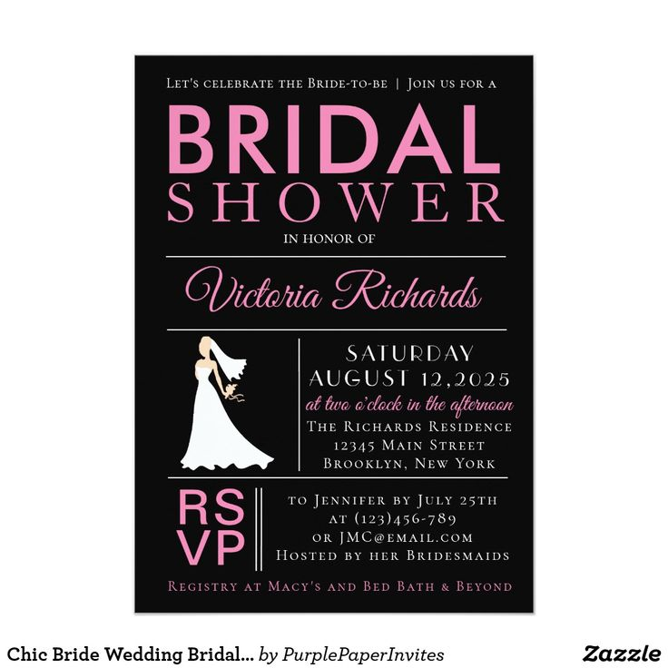 pink black and white bridal shower invitations%0A Chic Bride Wedding Bridal Shower Invitation