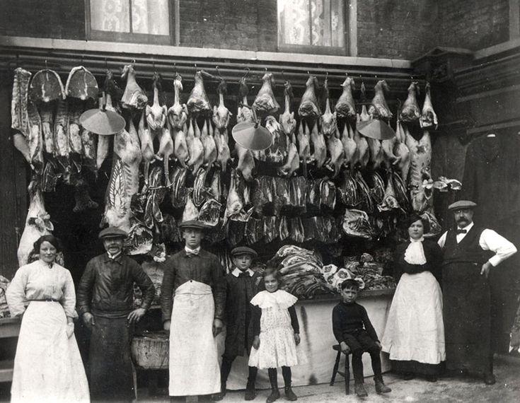 Butcher's shop, Watney St, London c 1900