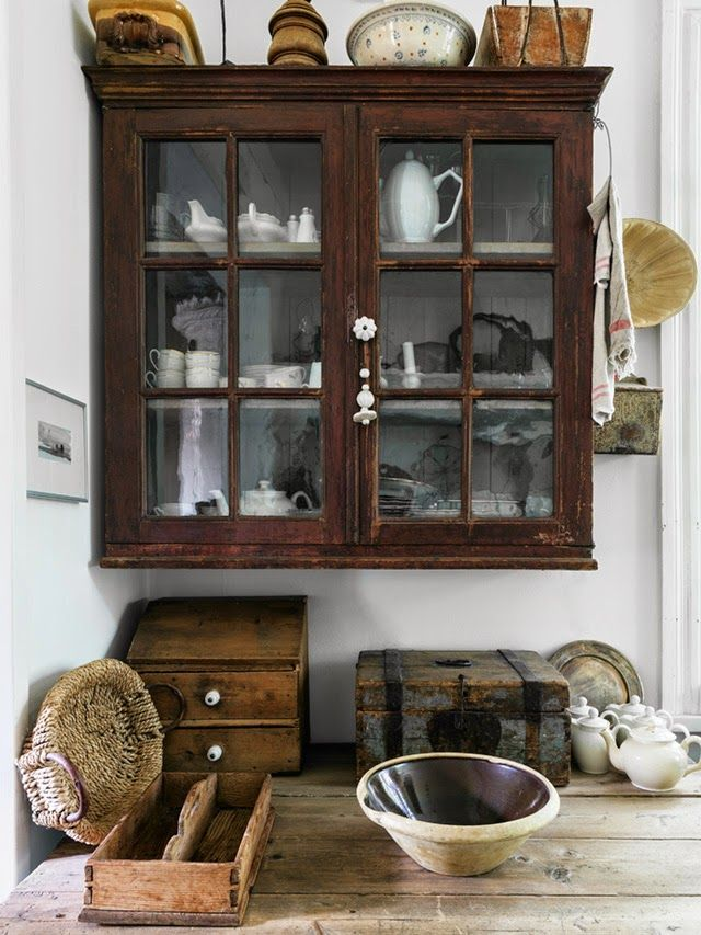 Vintage Wood Wall Cabinet With White Dishes Rustic Wood