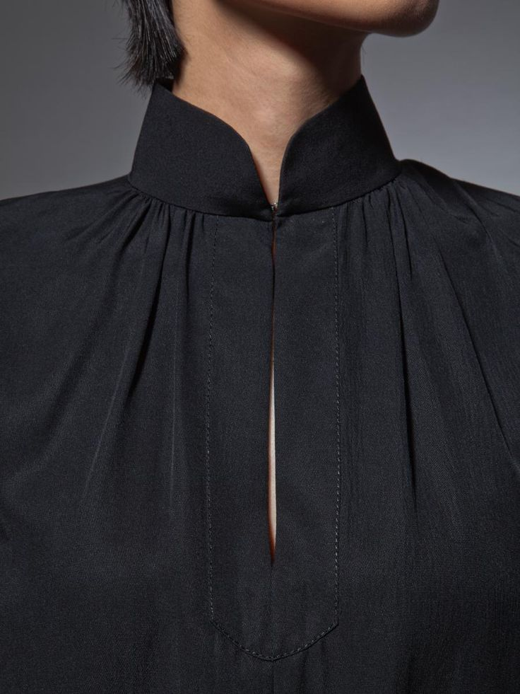 Mandarin: Mandarin collar is a collar that climbs up the neck. it is not as good for the medium-short, or short neck. For a medium neck, modify this style by selecting a very narrow collar, giving the illusion of a mandarin- excellent on long and medium-long necks.