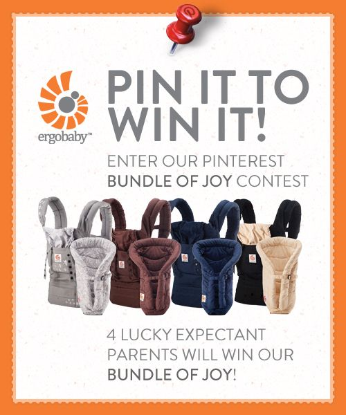 Ergobaby Bundle of Joy Baby Registry Contest!  Here are the rules:    1.  Login to your Pinterest account and follow Ergobaby.   2.  Visit our Baby Registry Board and comment on this pin with your due date.  3.  Re-pin one of the 4 Bundle of Joy Carriers onto your Baby Registry Board and tag with the hashtags:  #bundleofjoy #ergobaby  4.  Repin this pin.    Four winners, who complete all 4 steps by Mon 7/30 at 8pm PST, will be chosen to win an Ergobaby Bundle of Joy! US Residents only.