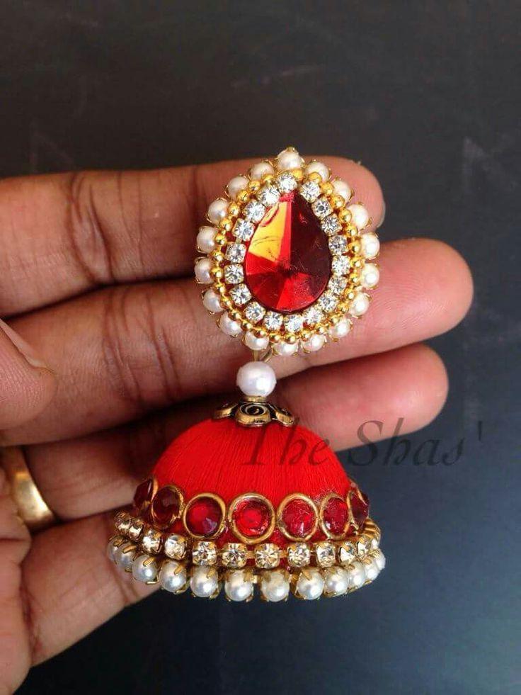 jhoomki traditional | diy earrings | Silk thread jhumkas ...