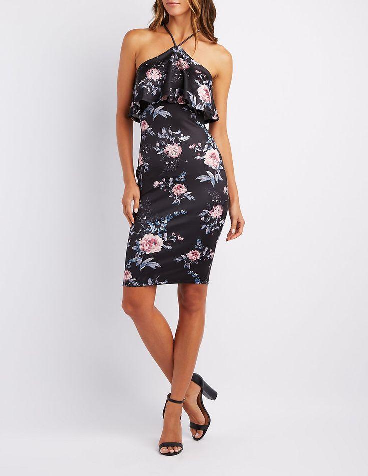 Floral Ruffle Bib Neck Bodycon Dress | Charlotte Russe$29.99