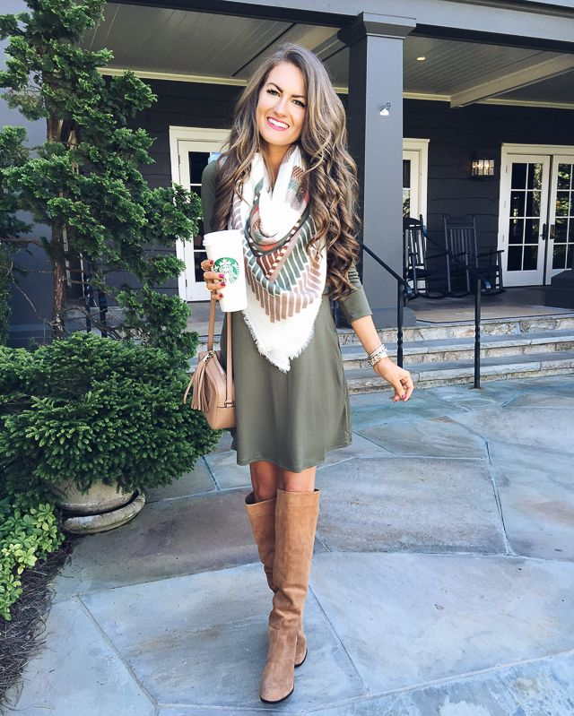Swing dress, boots and scarf for fall