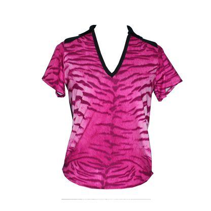 Wild in Black * V neck * Collar * Pink tiger print front * Black back, trim, yolk and collar * Short sleeves.  Buy it online at ladygolfwear.com.au