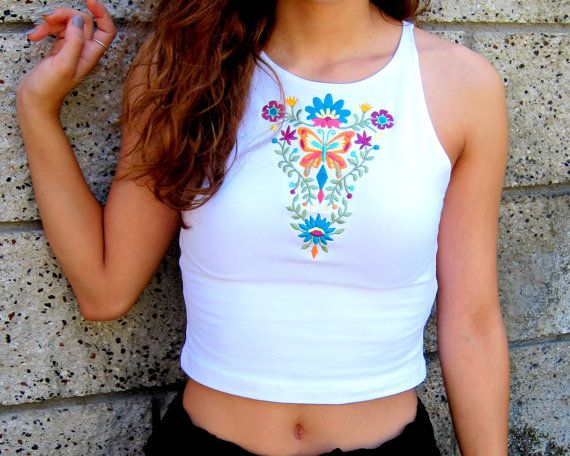 Boho Crop Top-Music Festival Crop Top-Embroidered by ZellyaDesigns