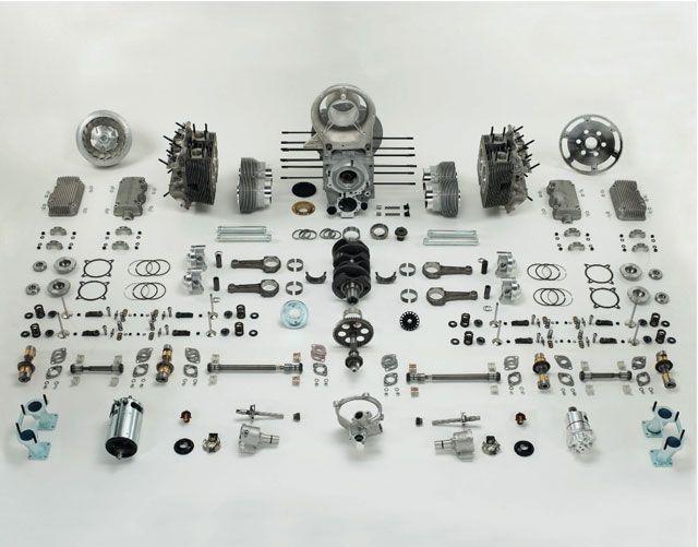 Porsche 356 engine in parts: 356 Race, 550 Spyder, Porsche Engine, Carrera Motors, 356 Carerra, Porsche 356, Exploding View, Cars Engine, 550 Porsche