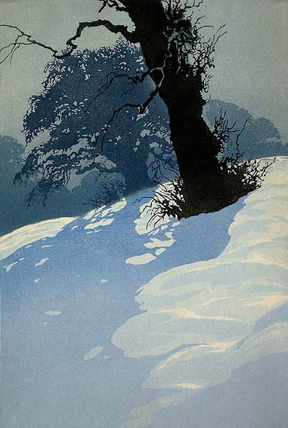 """""""Schwarzer Baumstamm im Schnee"""", by Oscar Droege (German, 1898-1982)"""