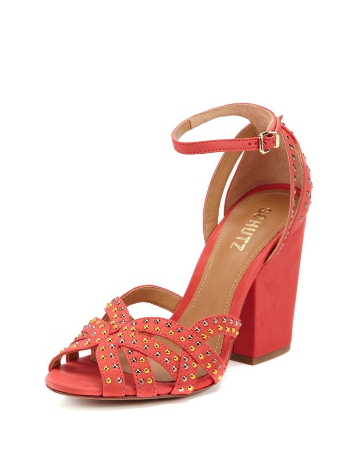 My new favority color in my shoe obsession...Studded Chunky Heel Sandal by