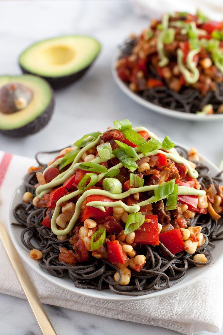 Southwestern Black Bean Spaghetti | Snixy Kitchen