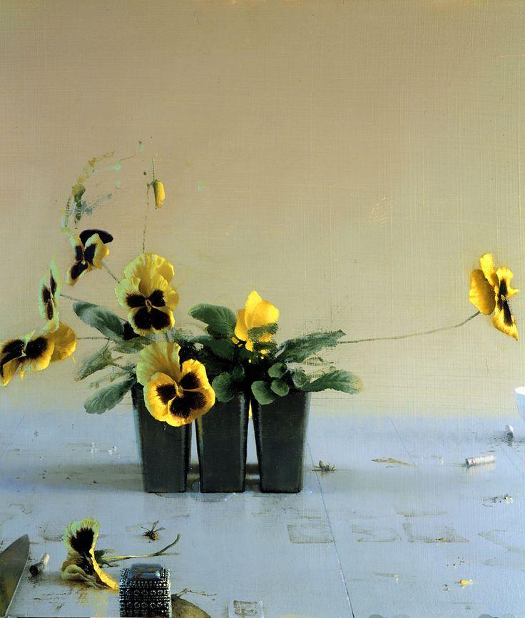"Daniel Sprick ""Still Life with Pansies""   Oil & Board 18"" x 24"" - ©2003"