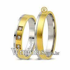 Alianças de noivado em ouro 18k e prata baratas 7G 4,3mm WM2599