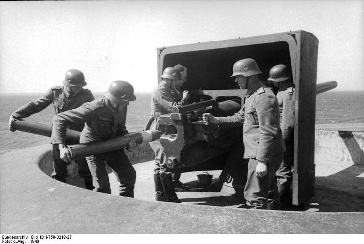 German coastal gun crew in exercise, Denmark, 1940