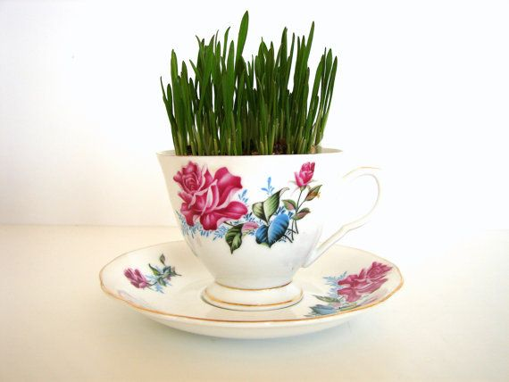 Grass Kit in Vintage Rose Pattern Tea... and yes, it comes with the china tea cup and saucer! by ThirdShift