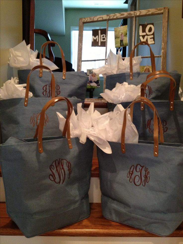 Give the bridesmaids monogrammed bags with goodies inside as a gift for being apart of your big day!