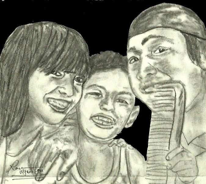 Friends ' Sasa , Juna and Dafa ' by. Rona Marliana '